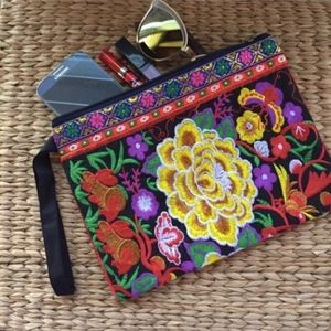Yellow Pua Blossoms Embroidered Clutch Wristlet